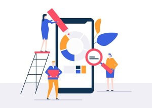Data analysis - flat design style colorful illustration on white background. High quality composition with male, female colleagues processing information on a smartphone. Business analytics concept